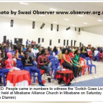 Inside Mbabane Alliance church where the father's service was held.